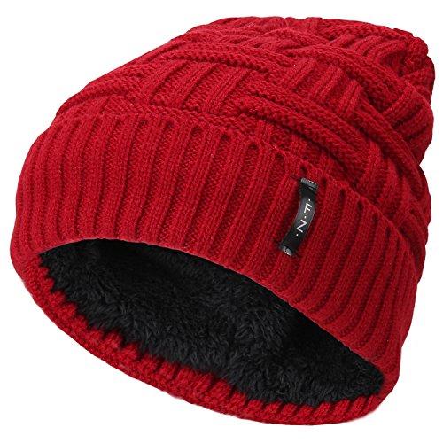 Fantastic Zone Beanies Skull Caps Striped Knit Skull Caps Beanie Winter Hats For Men Red One Size (Cap Skull Red)