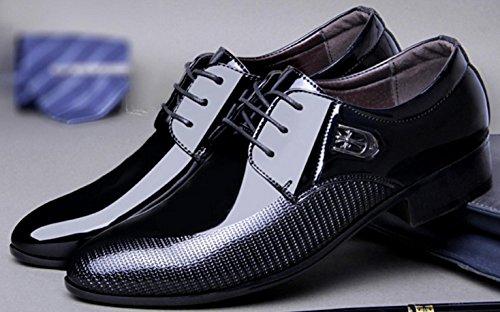 HYLM Los zapatos de cuero ocasionales del negocio de los nuevos hombres de señalaron el cordón / los zapatos de boda de los zapatos de vestido del tamaño grande Black