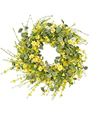 INIFLM Artificial Daisy Wreath 24 Inch Decor Wreath, Beautiful Faux Spring and Summer Wreath Fake Plastic Green Leaf Wreath Great for Home, Outdoor Front Door, Indoor Wall, Window Decor