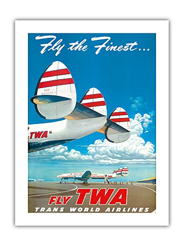 Fly The Finest   Super Lockheed Constellation   Connie     Fly Twa  Trans World Airlines    Vintage Airline Travel Poster By Frank Soltesz 1952   Premium 290Gsm Gicl E Art Print   18In X 24In