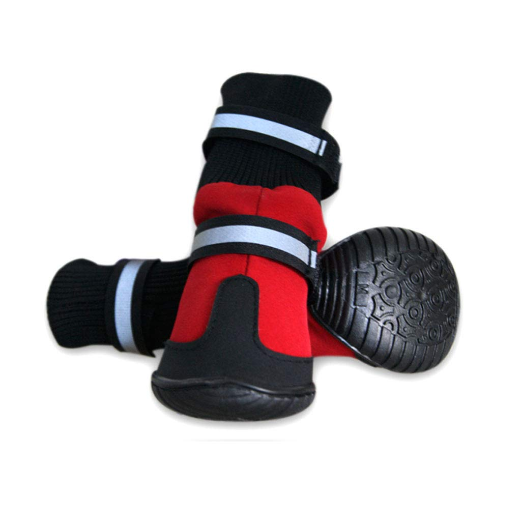 Red Large Dog Autumn and Winter Waterproof shoes Jin Mao Teddy Pet shoes Non-Slip Than Xiong Bomei Puppy shoes (color   Red)