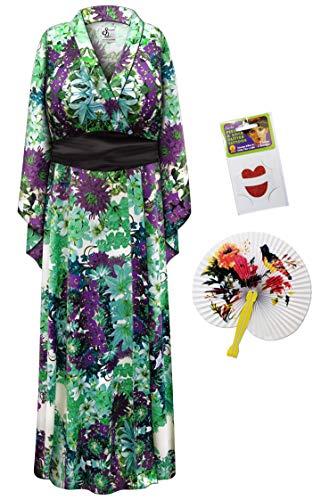 Satiny Floral Geisha Robe Plus Size Halloween Costume - Basic Kit 5x/6x