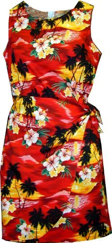 (Pacific Legend Girls Brilliant Hawaiian Island Sunset Sarong Dress Red)