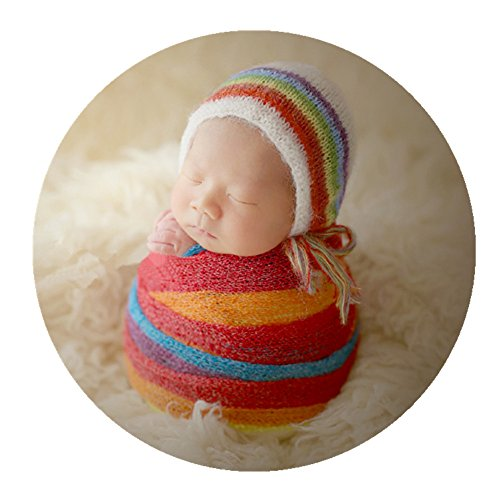- Newborn Baby Photography Props Outfits Hat Long Ripple Wrap Set for Boys Girls Photography (Rainbow)