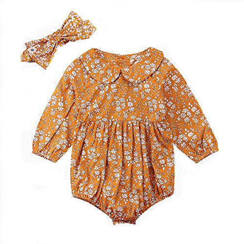 Newborn Baby Girls 3 6 12 18 Months Floral Bodysuit Long Sleeve Bubble Romper + Headband Ruffled Peter Pan Jumpsuit Spring Outfit 3-6 Months Yellow