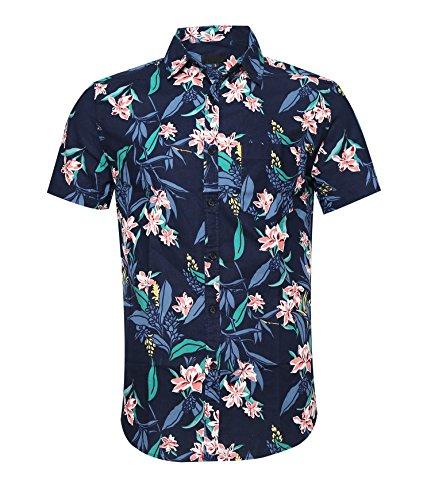ALTOGUSTO Men's Flower Print Casual Button Down Short Sleeve Shirt Hawaiian Shirts (Aloha Flannel)