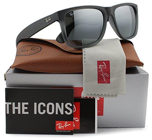 Ray-Ban RB4165 Justin Sunglasses Matte Grey w/Silver Mirror (852/88) 4165 85288 55mm - Justin Ban Ray Grey