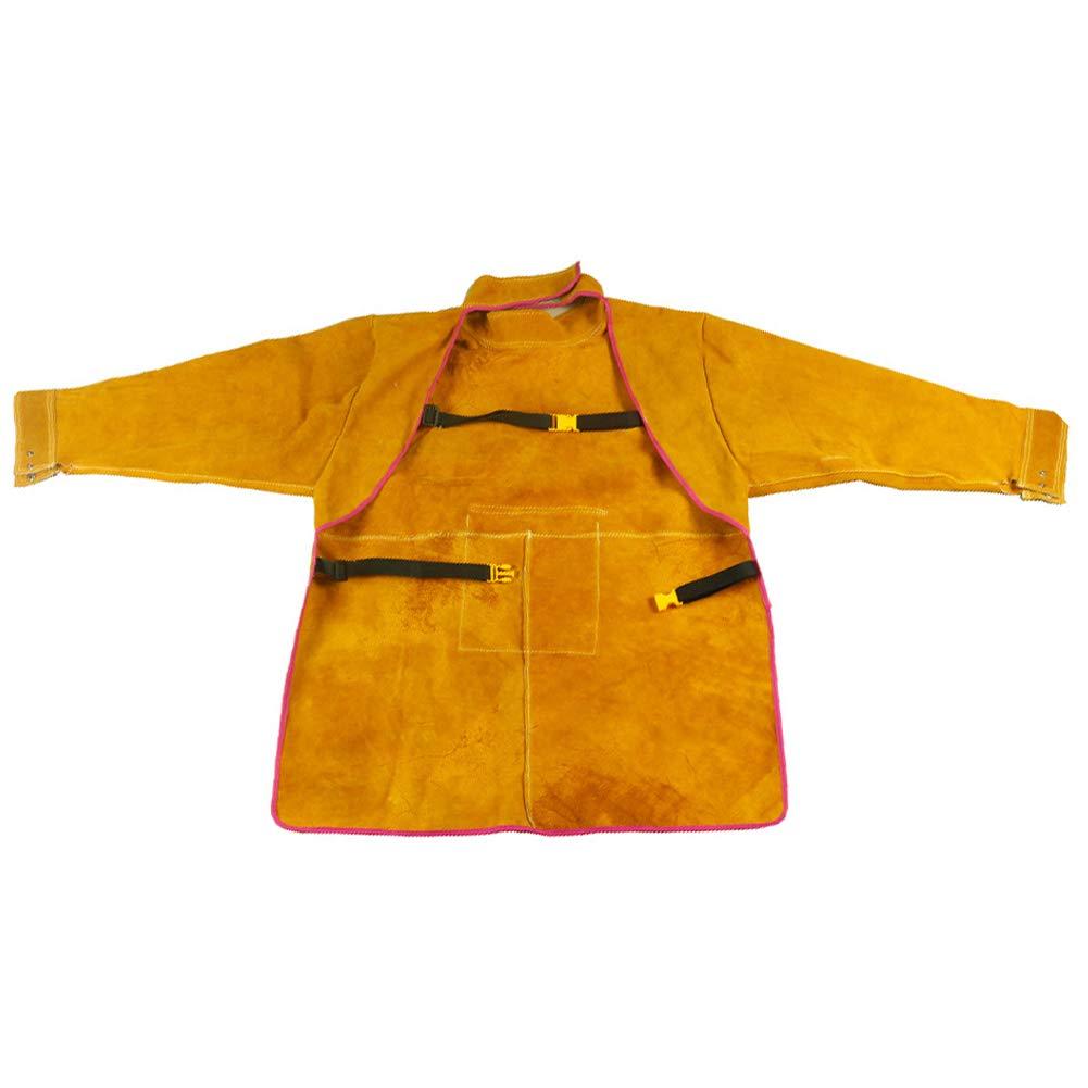 Produzione HWZZ Abbigliamento per Saldatura in Pelle Abbigliamento in Pura Pelle operazioni in Fabbrica Grembiule per Saldatore ignifugo antispruzzo Adatto per Saldatura Barbecue ECC