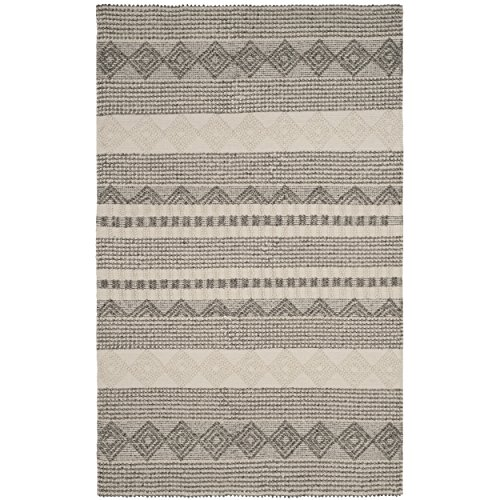 (Safavieh NAT102A-6 Natura Collection Handmade and Ivory Wool Area Rug, 6' x 9', Grey)