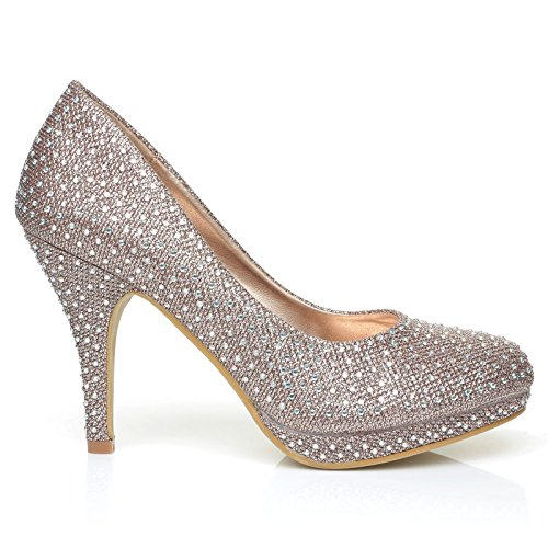 Bailey Rose Gold Mesh Diamante Wedding/Bridal/Prom Platform Court Shoes