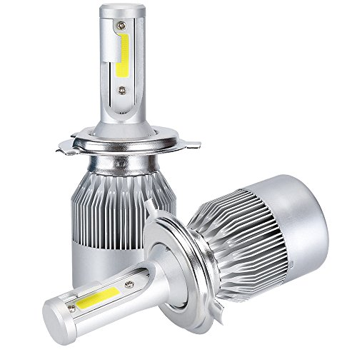 H4 LED Headlight Bulb 72W 7600LM 2PCS COB Chips Car LED Headlight Lamp Conversion Kit Hi/Lo Beam Bulb 6000K 12V