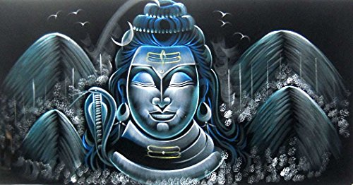 (Meditating Lord Shiva/ Indian Painting Wall Décor Wild Life Abstract on Velvet Fabric: Size - 20