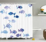 Clear Shower Curtain with Fish Design Ambesonne Animal Shower Curtain, Cute Little Fishes Watercolors Ocean Underwater Life Marine Theme Artwork, Fabric Bathroom Decor Set with Hooks, 70 Inches, Baby Blue Blue Mauve