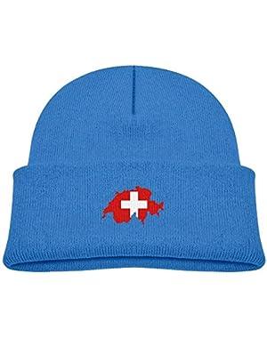Warm Map of Switzerland Printed Baby Girl Boys Winter Hat Beanie