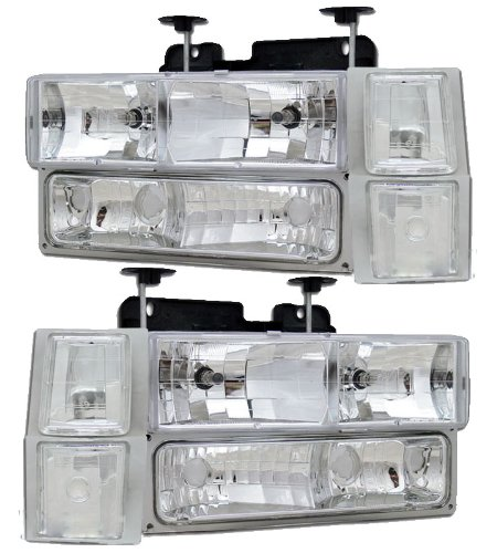 HEADLIGHTSDEPOT Halogen Euro Clear Style Headlights w/Parking and Corner Lights Compatible with Chevrolet Blazer Suburban C/K 1500 2500 3500 Tahoe Includes Left and Right Side Headlamps