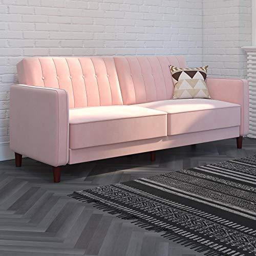 DHP DZ88554 Ivana Tufted Transitional, Pink Velvet Futon