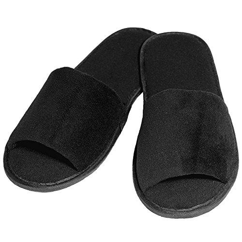 2, 5 & 10 Paar Velour Slipper in schwarz von Stubenfein (10)