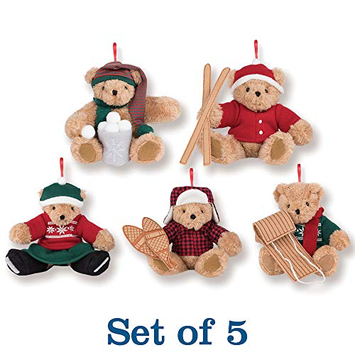 Snowball Ornament Christmas (Vermont Teddy Bear Christmas Ornaments - Vintage Inspired Holiday Ornaments - Set of 5, 4 inches)