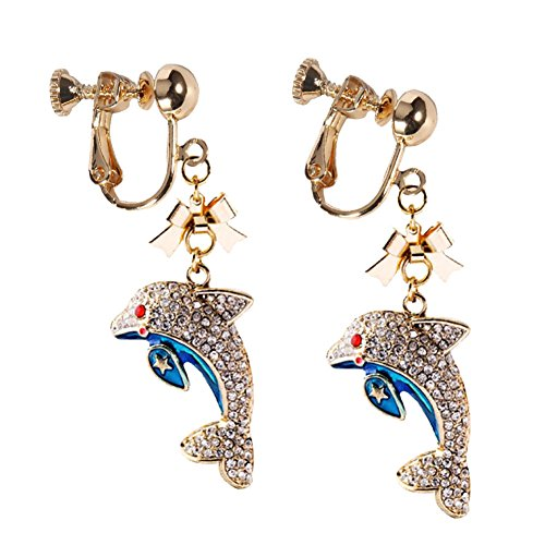 Sweet Sea Blue Belly Dolphin Earrings Star Full Drill Screw Clip on Earrings Dangle for Teen Girls Women