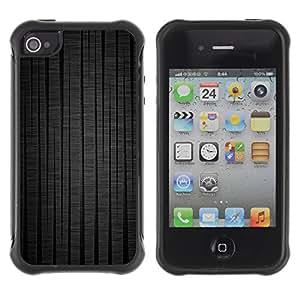 Híbridos estuche rígido plástico de protección con soporte para el Apple iPhone 4 / 4S - stripes vertical dark minimalist