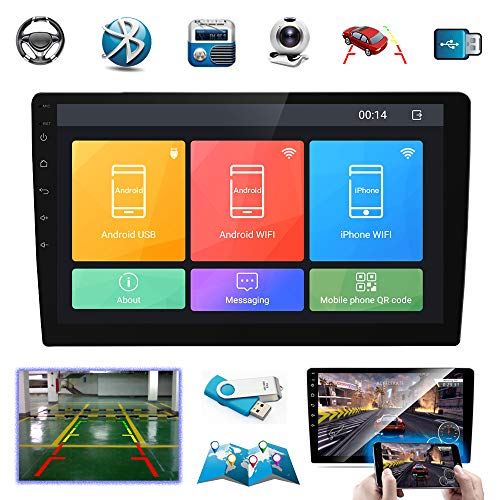 Double Din Car Stereo 10 Inch Touch Screen Android Car Radio Bluetooth GPS Navigation Head Unit Support WiFi/USB/SD/Mirror Link/Backup Camera/MP5 Player/AM/FM Receiver. (Indash Car Stereo 10 Inch)