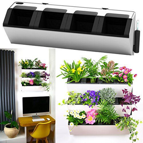 MyEasygro Self Watering Wall Planter by for Indoor and Outdoor | Mounted Hanging Vertical Urban Garden Decor | Green Wall Pots for Flowers, Plants, Herbs, Vegetables, Seeds | 22.5''x7''x7'' (1, White) by MyEasygro