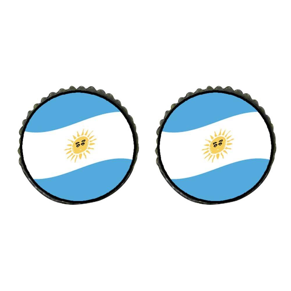 GiftJewelryShop Bronze Retro Style Argentina Flag Photo Stud Earrings 10mm Diameter