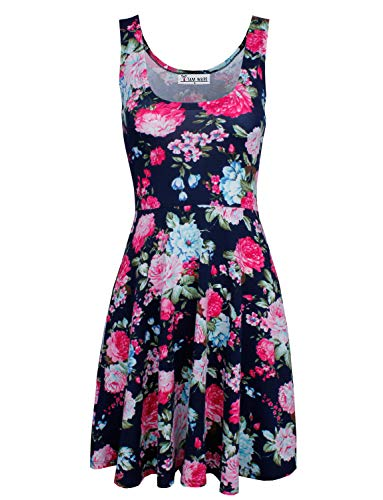 TAM WARE Womens Casual Fit and Flare Floral Sleeveless Dress TWCWD054-NAVY-US L