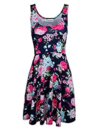 Tom's Ware Womens Casual Fit and Flare Floral Sleeveless Dress TWCWD054-NAVY-US XXL