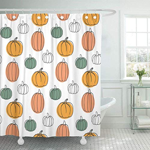 GETTOGET Green Thanksgiving with Pumpkins Colorful Halloween Orange Cooking Cute Agriculture American Cartoon Child Shower Curtain Sets Hooks,Waterproof Polyester Curtain -