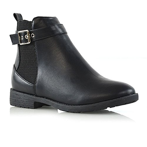 ESSEX GLAM Womens Chelsea Low Block Heel Ladies Buckle Zip Elasticated Ankle Boots Shoes Black Synthetic Leather
