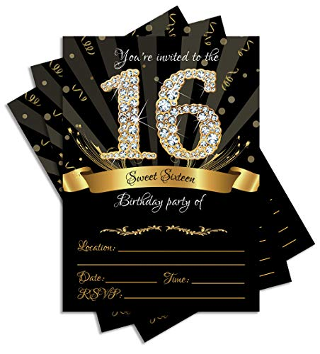 Sweet 16 Invitation (25 Sweet Sixteen Black Double-sided 5x7 Party Invitations Kit with Gold Metallic Pen and)