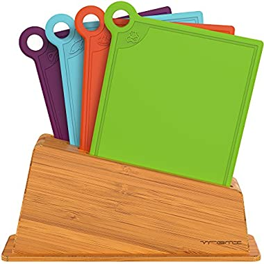 Vremi 5 Piece Cutting Board Set in Holder - Small Thin Dishwasher Safe Chopping Boards in BPA Free Plastic with Colorful Food Icons for Meat Fish and Vegetables with Bamboo Index Storage Stand