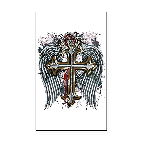 Rectangle Car Magnet Large Cross Angel Wings
