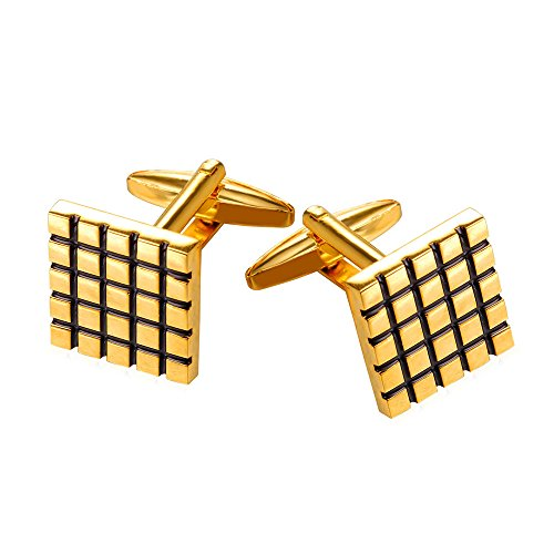 18k Square Cufflinks (18K Gold Plated Cubic Square Cufflinks Business Wedding)