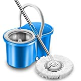 Honana MA-282 Stainless Steel Microfiber 360 Rotating Spin Mop Bucket Floor Cleaning System Household Home Cleaning Supplies Tools
