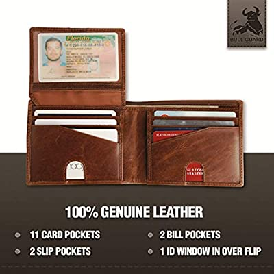 Bull Guard RFID Blocking Bifold Wallet For Men Soft Genuine Vintage Leather