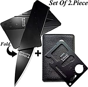 Gifts for Men Gadgets (Set of 2) Credit Card Size Tool and Knife (Black Sets of 2)