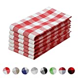 VEEYOO Set of 6 Oversized 20 x 20 inch (51 x 51 cm) 100% Cotton Plaid Cloth Napkin Gingham for Dinner Party Restaurant Everyday, Red & White Check