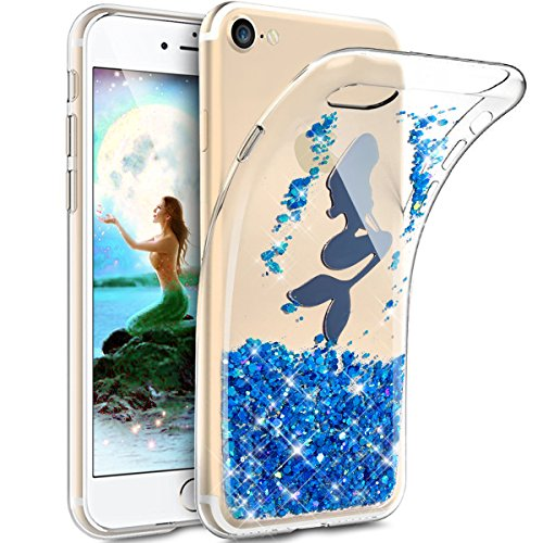 (iPhone 8 Case,iPhone 7 Case,iPhone 7 Bling Case,ikasus Crystal Clear Bling Glitter Sparkle Mermaid Wafer Paillette Flexible Soft Rubber Gel TPU Skin Bumper Silicone Case Cover for iPhone 8/7,Blue)