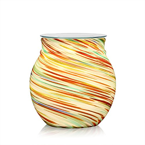 COOSA Rainbow Pattern Colorful Glass Electric Incense Burner or Wax Tart Burner Night Light Aroma Decorative Lamp for Gifts & Decor (Multicolor)