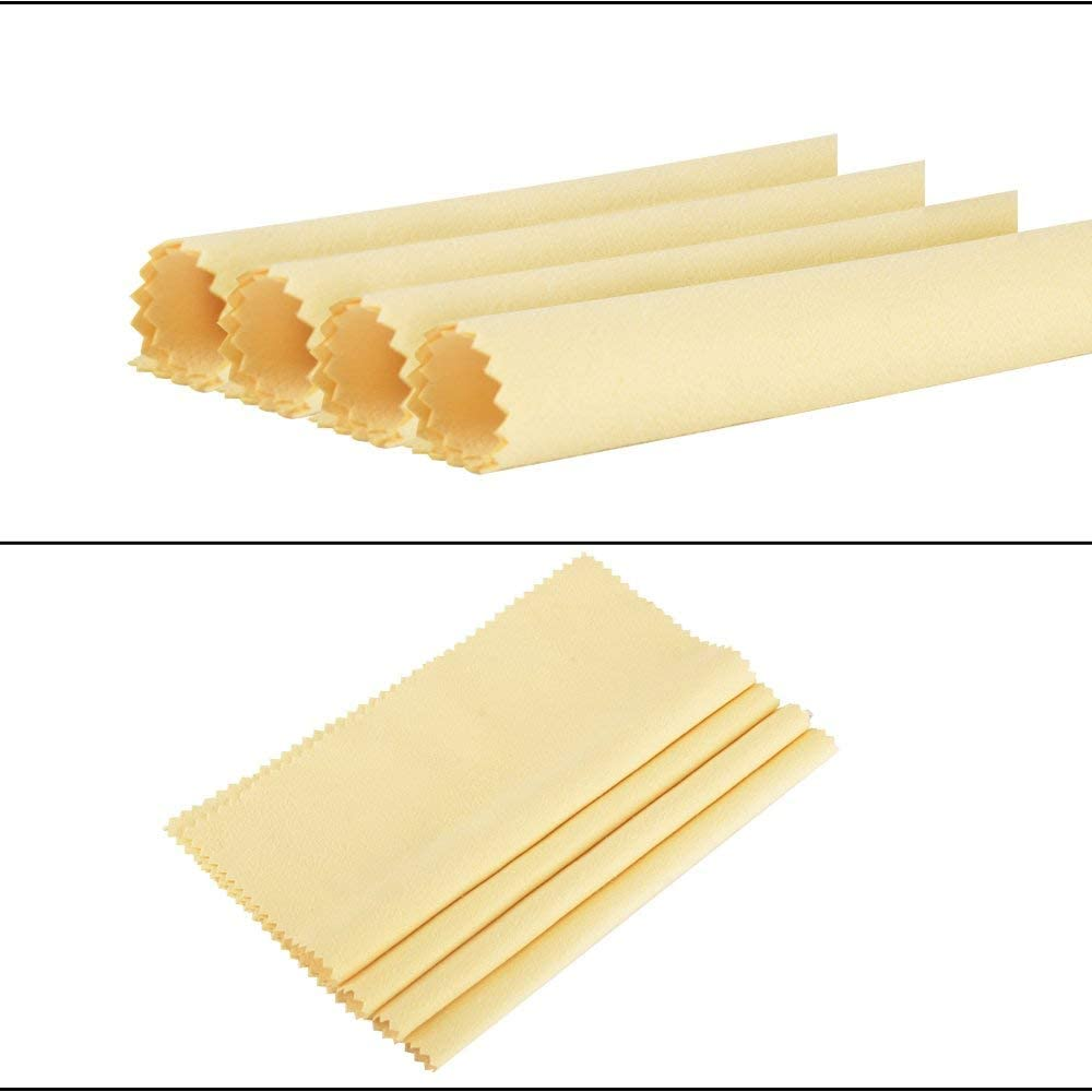 Nubstous 4Pcs Jewellery Polishing Cloth Yellow Cleaning Cloth for Platinum Gold and Sterling Silver