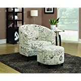 Coaster Transitional Vintage French Accent Chair with Ottoman