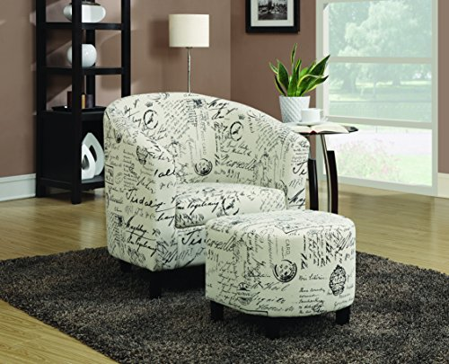 (2-Piece Accent Chair and Ottoman in French Script Pattern Off White)