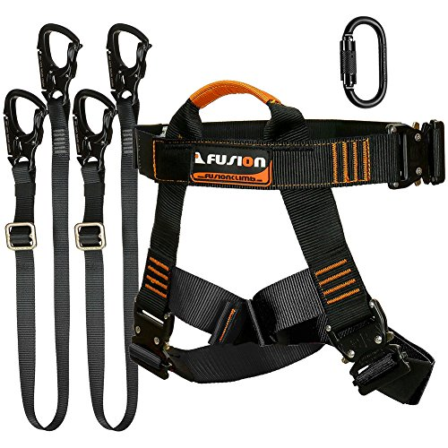 Fusion Climb Tactical Edition Adults Commercial Zip Line Kit Harness Dual Lanyard Carabiner Bundle FTK-A-HLLC-04