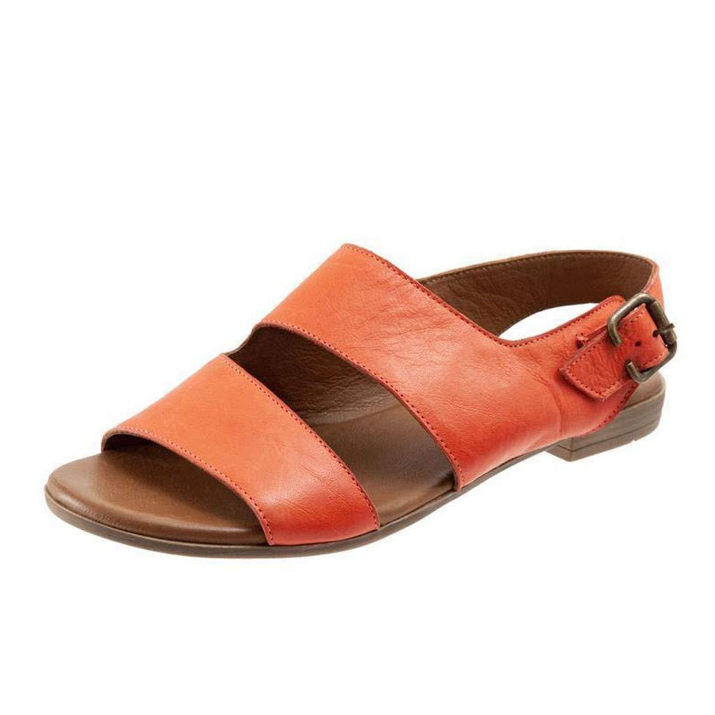 Thenxin Summer Women's Flat Sandal Retro Buckle-Strap Casual Peeptoe Flip Flop Roman Shoes (Orange,5 US) by Thenxin (Image #1)