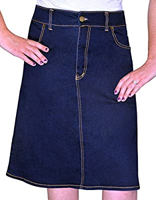 Kosher Casual Women's Modest Knee Length A-Line Stretch Denim Skirt With 4-Pocket Styling & No slits