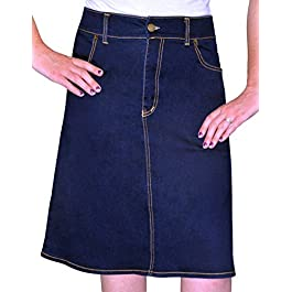 Women's Modest Knee Length A-Line Stretch Denim Skirt