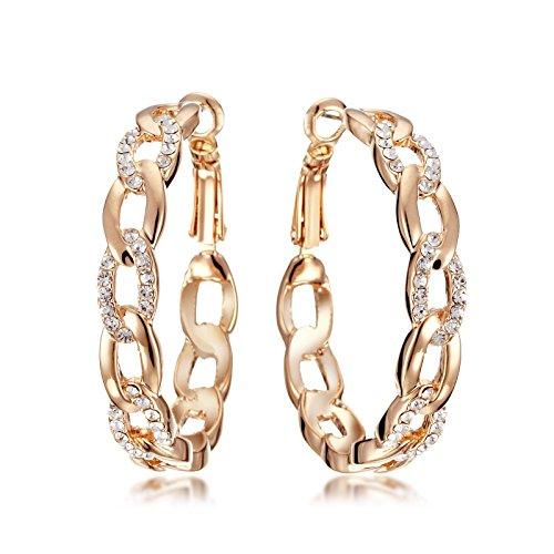 Gemini Women Jewelry 18K Gold Fill Swarovski Big Round Hoop Pierce Earring Gift Sz 4cm Rose Gold