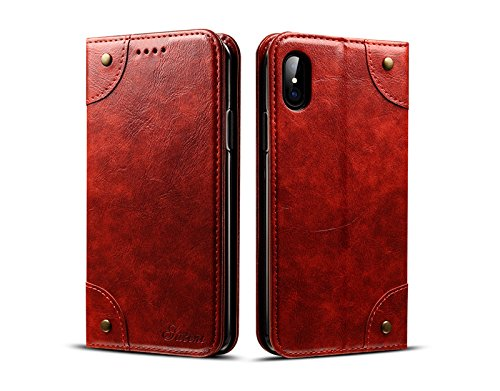 Price comparison product image iPhone 7 Plus Case,  iPhone 8 Plus Case, JiiJian Senior PU Leather Stand Protective Flip Folio Wallet Case Cover with Card Solt for 5.5 inch Apple iPhone 7 Plus / iPhone 8 Plus Case, Red